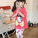 Girls Round Collar Rabbit Print And Bow Decor Long Sleeve Clothing Sets(T-shirtLeggings)