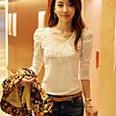 camisa de la manga de soplo del collar redondo del estilo coreano Yiluo (blanco)