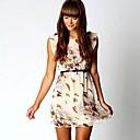 Womens Butterfly Print Chiffon Mini Dress
