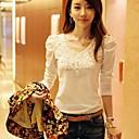 de las mujeres yisyi cuello redondo de moda casual color sólido encaje de algodón mangas largas t-shirt