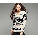 Womens V-neck Ink Printing Long Sleeve Shirts