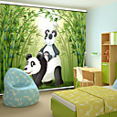 Lovely Cartoon Style Father Panda  Baby Panda With Bamboo Roller Shade