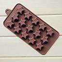 15 donas agujero de la torta forma pentagrama moldes de chocolate gelatina de hielo, silicone22 × 10,5 × 1,7 cm (8,7 × 4,1 × 0,7 pulgadas)