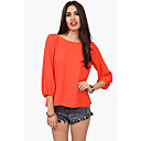 Nine Women's Backless Solid Color 3/5 Sleeve Blouse