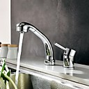 Contemporary Widespread Pullout Spray Chrome Finish Two Holes Single Handle Brass Kitchen Faucet