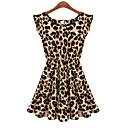 2014 Nuevo estilo que viene ocasional Leopard Ciffon Túnica vestido de las mujeres