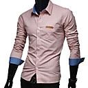 camisa de manga larga de color sólido de verificación informal nomo