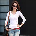 camisa de manga larga Yiluo gran tamaño v cuello del estilo coreano (blanco)