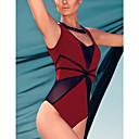 Womens Red Black Mesh Cutout Teddy Swimwear