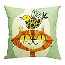 Lovely Cat and Bird Cotton/Linen Decorative Pillow Cover