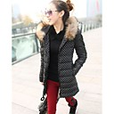 Womens Slim long Sections Of PU leather Down Coat Jacket Outerwear
