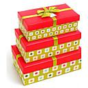 caja de regalo verde y rojo con la cinta (juego de 3)
