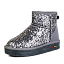 Buyiniao Women's Sequin Nubuck Leather Ankle Snow Boots
