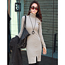 ER Elegant High Neck Long Sleeve Dress_Gray