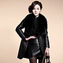 YIFULU Long Sleeve Slim Fashion Temperament Elegance V-Neck Fur Overcoats