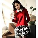 Womens  Korean Round Collar Fashion Sweet  Animal   Long Sleeve Dress