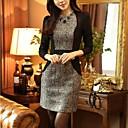 Womens Contrast Color Long Sleeve Mini Dress