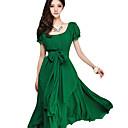 vestido de color sólido bodycon cuello redondo de las mujeres