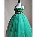 A-line Halter Tea-length Tulle And Polyester Flower Girl Dress With Flower(More Colors)