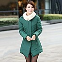 Womens Winter Fur Collar Down Coat Medium-long Down Jacket Cotton Padded Outerwear
