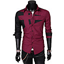 REVERIE UOMO Korean Style Silm dress Contrast Color Long Sleeve Shirts