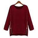 camiseta redonda de Gediao mujeres-cremallera lateral