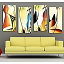 arte abstracto de la lona estirada de color conjunto de los pescados de 4