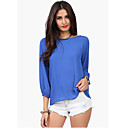 Nine Women's Backless Solid Color 3/4 Sleeve Blouse