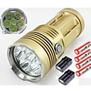 6T6 SKYRAY KING 6 Cree XM-L T6 LED 8000 Lumens 3 Mode Super Bright LED Flashlight Torch with 4pcs 18650 and 2pcs Charger