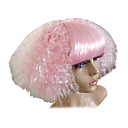 Europe Girl Pink Synthetic Fiber Women's Halloween Party Wig with Neat Bang