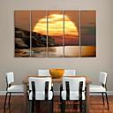 Stretched Canvas Art Coast Sunset Landscape Painting Set of 5