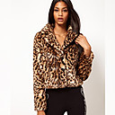 abrigo de leopardo sexy de la solapa de Nina mujeres 192