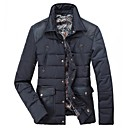 GUEQI Mens Stand Collar Fashion Pocket Decoration Wool Warm Thick Casual Solid Color Cotton Coat