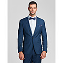 Blue Polyester Tailorde Fit Two-Piece Suit