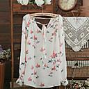 camisa de manga larga de gasa swd pájaros elegantes de impresión v cuello (color de la pantalla)