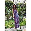 biopla gracia bohemio impreso vestido largo (púrpura)