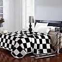 edredón shuian patrón de la moda sencilla suave mantenerse caliente manta engrosamiento de franela a cuadros con blanco y negro