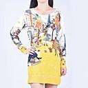Womens Fashion Loose Graffiti Printing Knit Sweaters