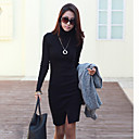 ER Elegant High Neck Long Sleeve Dress_Black