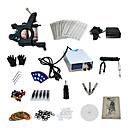 1 Gun Complete No Ink Tattoo Kit with Dark Steel Tattoo Machine and Stainless Steel White Power Supply
