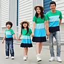 Familys Fashion Joker Leisure Parent Child Short Sleeves Bohemia T Shirt And Dress