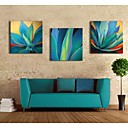 azul impresión de lienzo personalizado deja 40x40cm 30x30cm 60x60cm galería envuelto conjunto del arte de 3