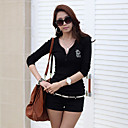 camisa de manga larga Yiluo gran tamaño v cuello del estilo coreano (negro)