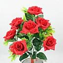 10 cabezas rosas clásicas flores de tela de seda de simulación