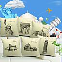 Set of 6 Famous Architecture Cotton/Linen Decorative Pillow Cover