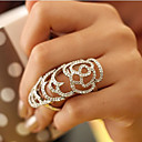 Image of viva femmes découpé bague en diamant de motif de rose (taille réglable)