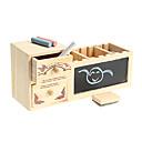 envase de la pluma de madera con los juguetes de la caja de música pizarra