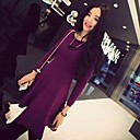 Womens Round Neck Casual Fashion  Back Zipper Solid Color Cotton Long Sleeves Fit Midi Dress