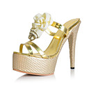 BC Summer Patent Leather Womens Pump Heel Platform Sandal with Yellow Flower