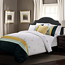 Duvet Cover Set,3-Piece 100% Cotton Classic Embroidery Elegance White
